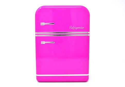 Refrigerator, Pink, Box, Storage, Cookie Jar, Tin Can