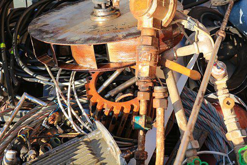 Old, Industry, Scrap, Recycling, Gears, Pipes, Unusable