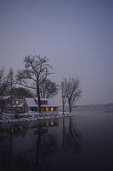 Lake, Snow, Tree, Winter, Light, Reflection, House