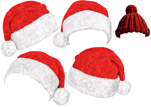 Santa Hat, Christmas, Cap, Red, Fabric, Nicholas