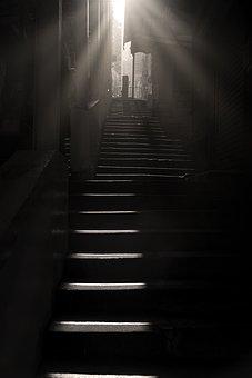 Dark, Light, Step, Perspective, Black And White, Str