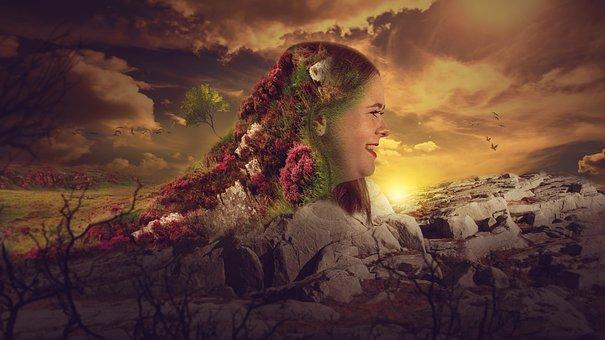 Nature, Sunset, Human, Girl, Woman, Meadow, Stones