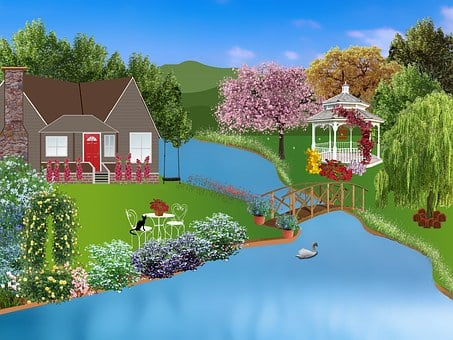 Cottage, Pergola, Flowers, River, Water, Water's Edge