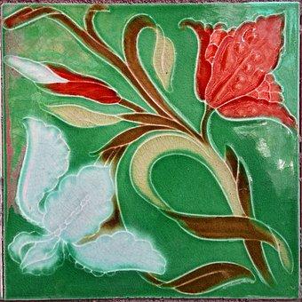 Tile, Wall Tile, Jugendstil, Art Nouveau, Ceramic