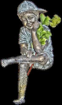 Boy, Figure, Manneken, Garden Pond, Male, Sitting
