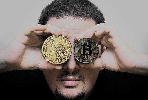 Hand, Man, Bitcoin, Dollar, Crypto-currency, Keep