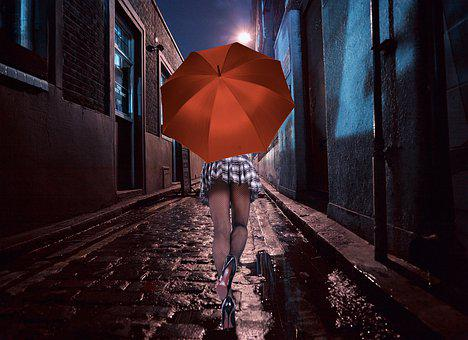Human, Woman, Road, Wet, Alley, Night, Lantern
