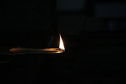 Insubstantial, Flame, Dark, Burnt, Lamp, Kerala