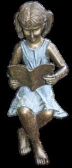 Girl, Figure, Read, Manneken, Garden Pond, Woman