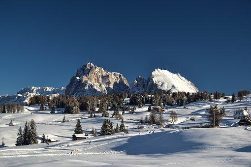 Snow, Winter, Mountain, Ice, Cold, Alpe Di Siusi