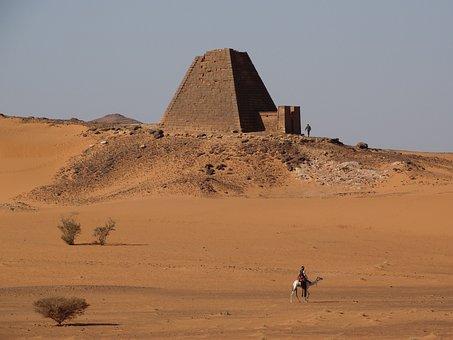 Khartoum, Meroe, Desert, Sand, Outdoors, Trip