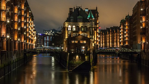 City, River, Bridge, Waters, Reflection, Speicherstadt