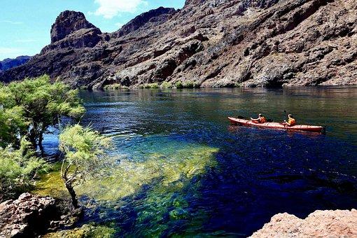 Kayak, Kayaking, Rowing A Boat, Colorado River, River