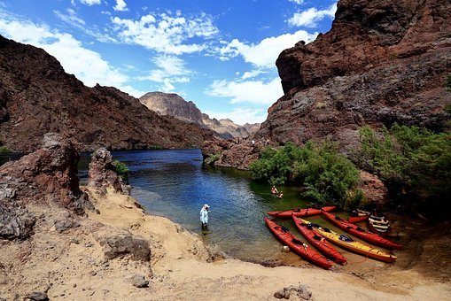 Kayak, Kayaking, Rowing A Boat, Colorado River, River