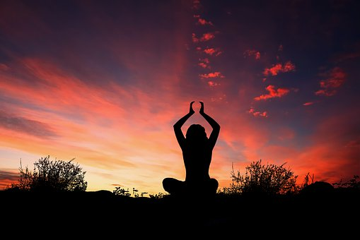 Sunset, Yoga, Silhouette, Evening