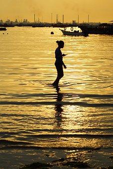 Sunset, Beach, Sea, Girl, Horizon, Silhouette