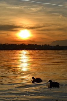Sunset, Waters, Sun, Lake, Iseo, Sky, Summer, Landscape