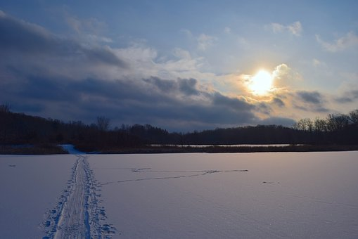 Snow, Landscape, Sun, Sunset, Dusk, Nature, White, Sky