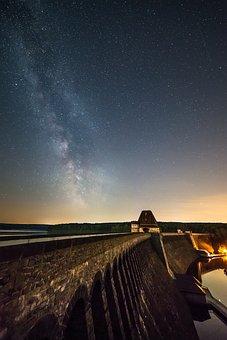 Sky, Panorama, Milky Way, Star, Night, Dam, Lake
