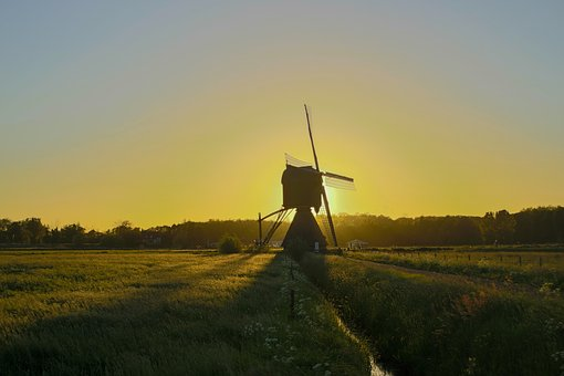 Wind Mill, Landscape, Sunset, No Person, Uppel