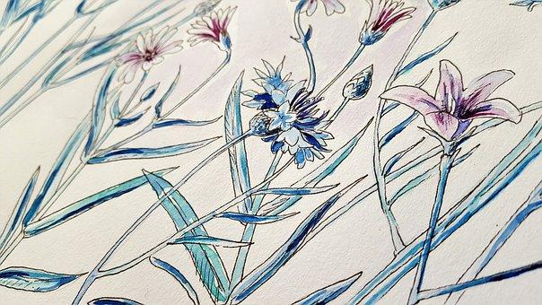 Art, Painting, Perokresba, Watercolor, Flowers, Vintage