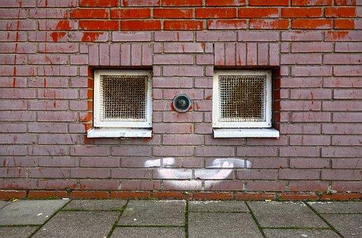 Wall, Pink Brick Wall, Window, Small Window, Graffiti