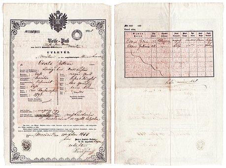 Hungarian, Passport, 1855, Paper, Document, Office