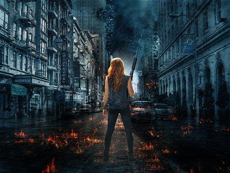People, Adult, Woman, Street, Outdoors, City, Dark, War