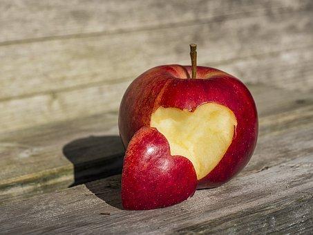 Fruit, Apple, Heart, Heart Apple, Food, Woods, Healthy