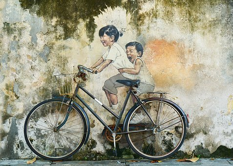 Bicycle, Rides, Child, Children, Graffiti, Art, Artist
