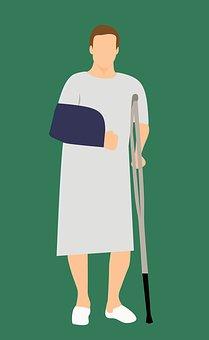 Man, Patient, Standing, Broke, Caucasian, Crutch