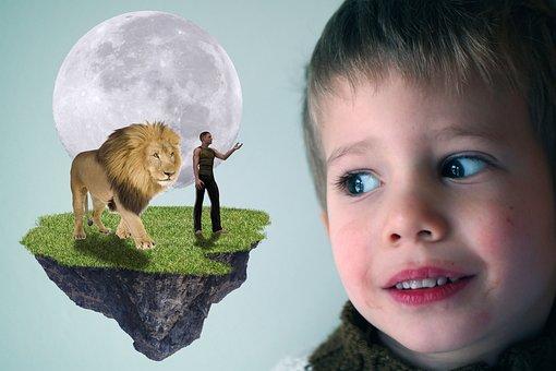 Child, Baby, Fantasy, Lion, Man, Childhood, Cute, Kid