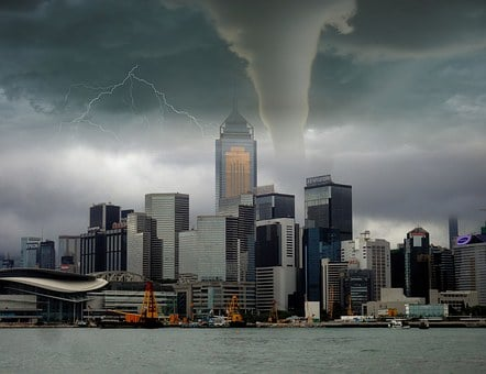 Tornado, Storm, Lightning, Skyline, City, Building