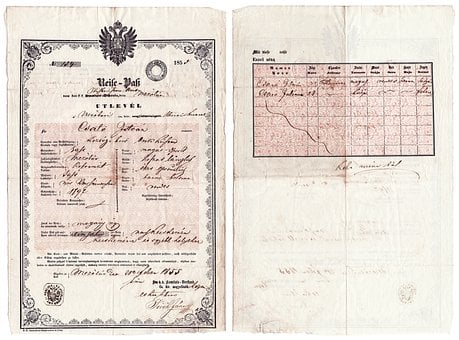Hungarian, Passport, 1855, Paper, Document, Office