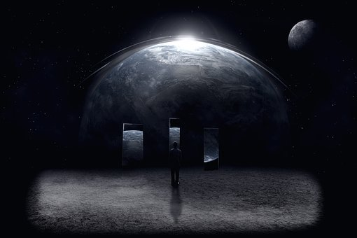 Man, Darkness, Moon, Space, Easy, Figure, Fiction