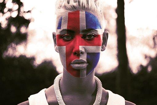 Portrait, Human, Woman, Fan, Face, Football, Flag
