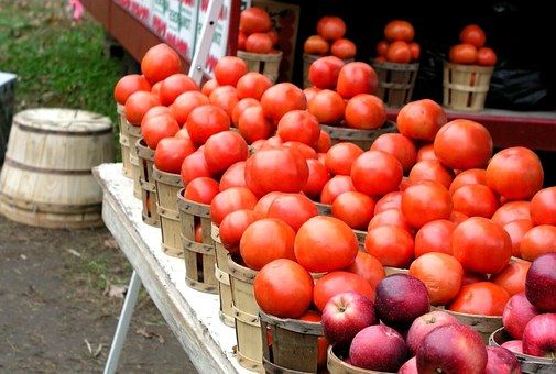 Farmer, Market, Tomatoes, Apples, Healthy, Produce