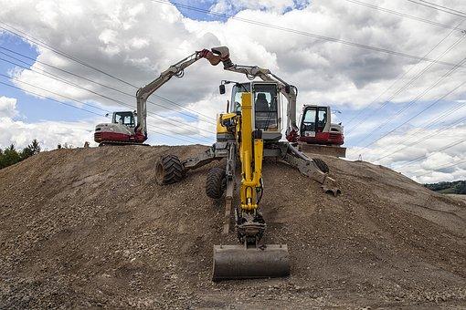 Machine, Excavators, Tractor, Earth, Industry, Horizon