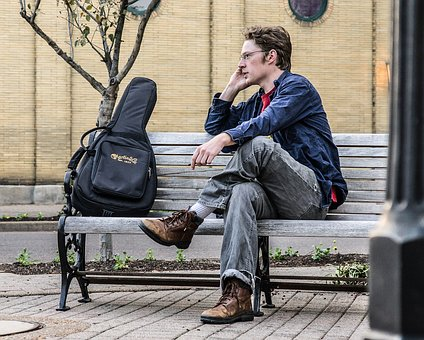 Bench, Sit, People, Adult, Man, Musician