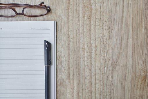 Pen, Notebook, Eyewear, To Write, Look, Read, Page
