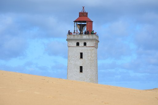 Rubjerg, Jutland, Denmark, Lighthouse, Sea, Beach