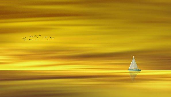 Waters, Gold, Golden, Water, Lake, Ocean, Ship