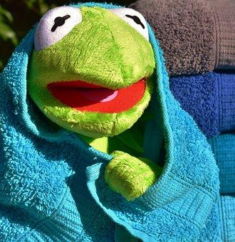 Kermit, Towel, Turquoise, Color, Soft, Tissue