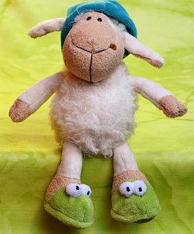 Sheep, Sleepyhead, Cap, Slippers, Teddy Bear
