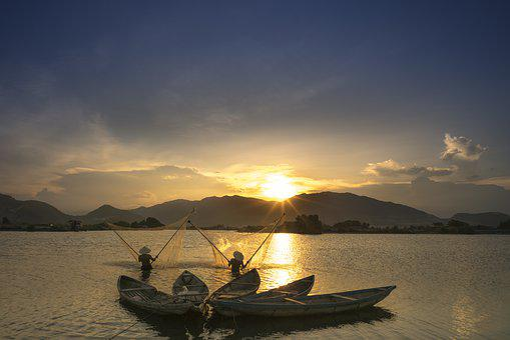 Sunset, Wave, Province, Vietnam, The Fishermen, Natural