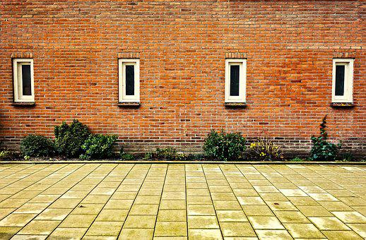 Building, Block, Wall, Brick Wall, Window, Four Windows