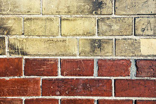 Brick Wall, Yellow Brick, Red Brick, Wall, Masonry