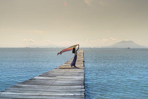 Women, Happy, Shawl, People, The Sea, Pier, Wood, Green