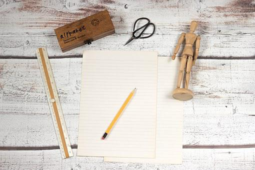Card, Line, A Pair Of Scissors, Pencil, Notes
