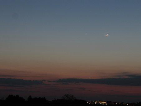 Moon, Mercury, Abendstimmung, Planet, Astro, Evening